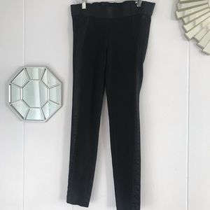 Vince Black Legging Pants Faux Silk Panel XS